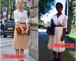 Pin-spired Paris Street Style :: Chiffon midi skirt & Navy brogues