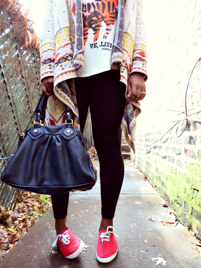 outfit-post-zara-tank-blanket-cardigan-leggings-keds-marc-by-marc-jacobs