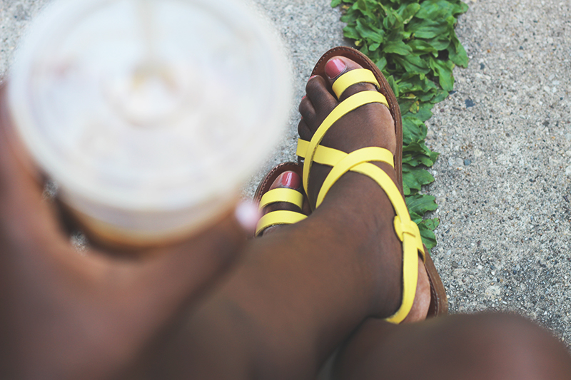 bright yellow strappy sandals